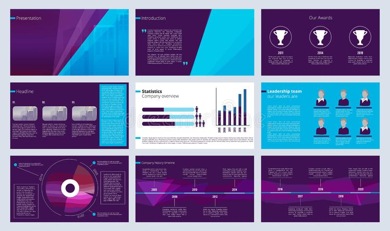 Slideshow template. Business magazine pages or annual report designs with colored abstract shapes and text vector vector illustration