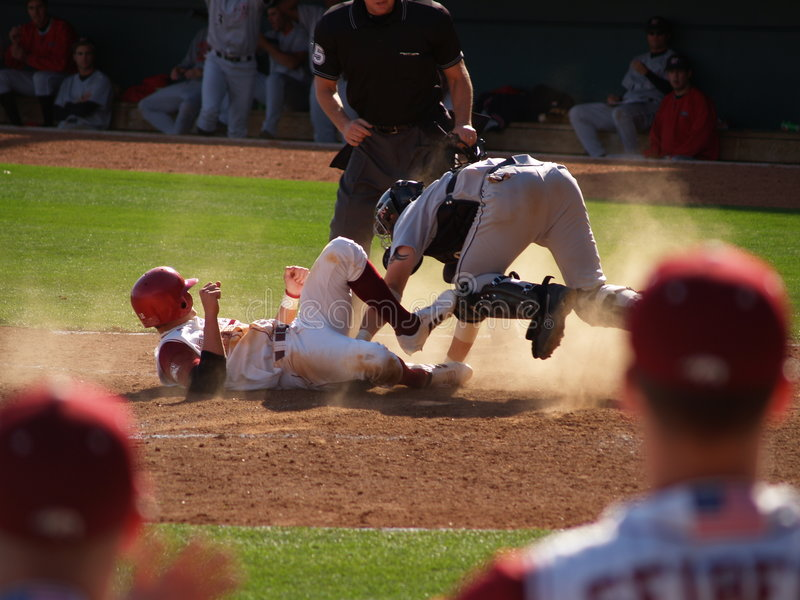 Download Sliding into Home Plate stock image. Image of athletes - 574973