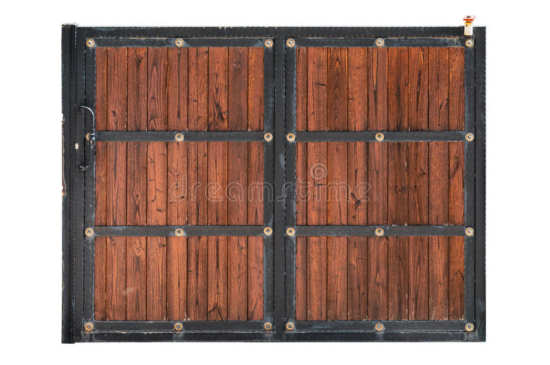Sliding Iron And Wooden Yard Door Isolated Stock Image   Image Of .
