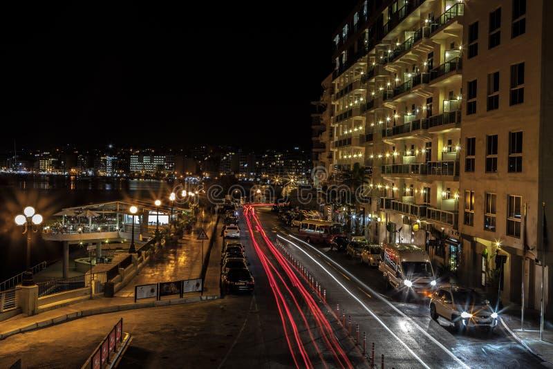 Sliema by night royalty free stock photo