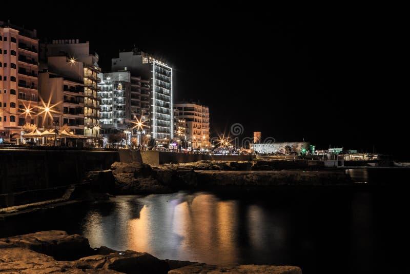 Sliema by night stock photography