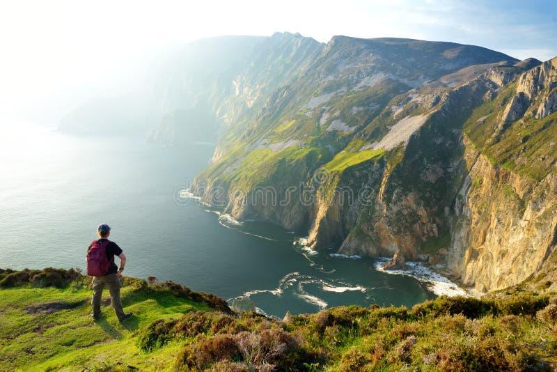 Slieve同盟,Irelands公海峭壁,位于沿这条壮观的肋的驾驶的路线的南西部Donegal ?? 免版税库存图片