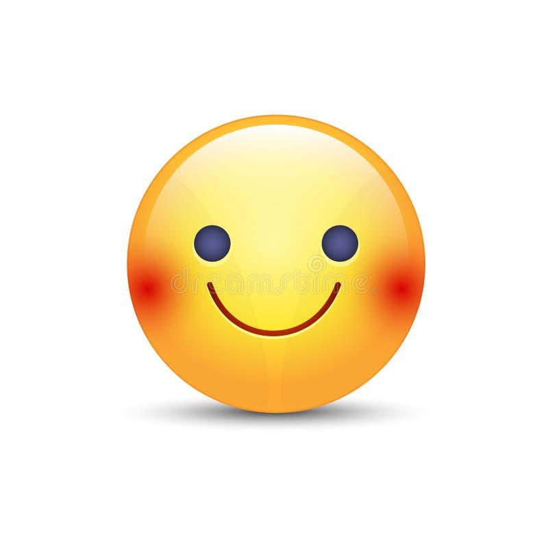 Slightly cartoon smiling yellow vector face. stock illustration