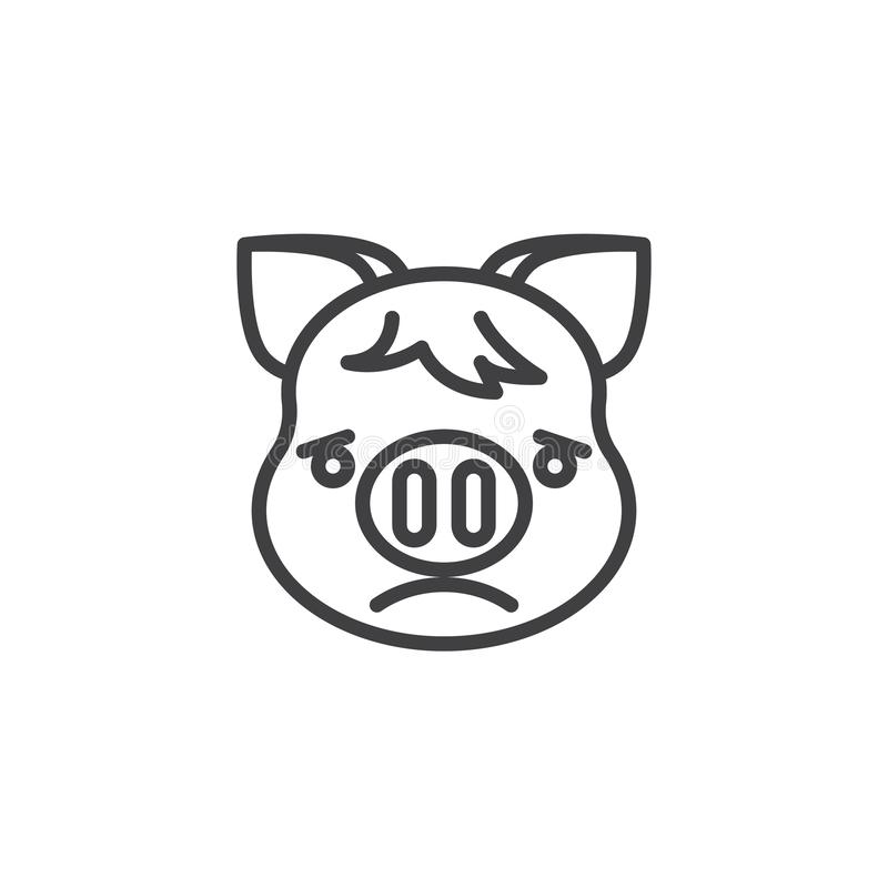 Slightly Frowning Piggy Face Emoji line icon. Linear style sign for mobile concept and web design. Sad piggy face emoticon outline vector icon. New year Pig stock illustration