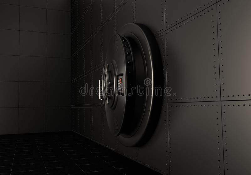 Slightly open the door of the safe. 3D render.  stock illustration