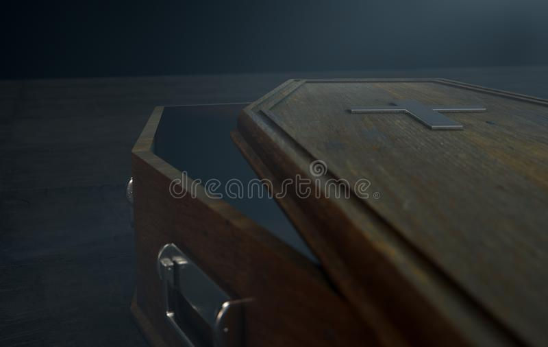 Open Coffin And Crucifix stock illustration