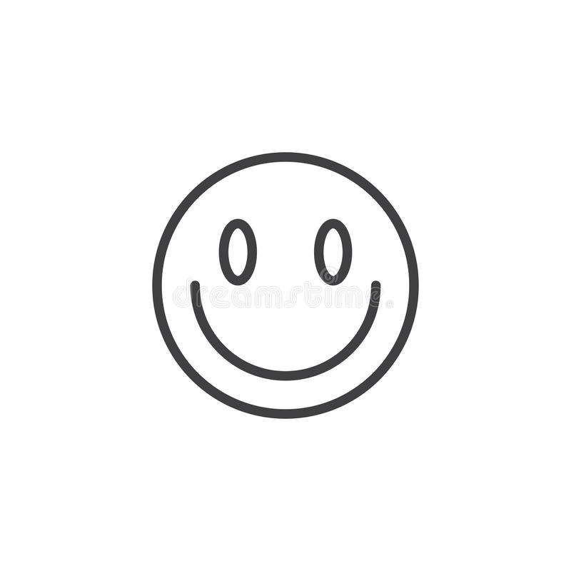 Slightly Smiling Face emoji line icon. Linear style sign for mobile concept and web design. Happy face emoticon outline vector icon. Symbol, logo illustration stock illustration