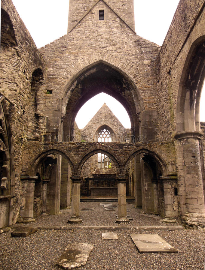Sligo Abbey. The ruin of an ancient medieval Dominican Friary founded in the mid-13th century, this stone abbey contains many carved sculptures, a cloister stock image