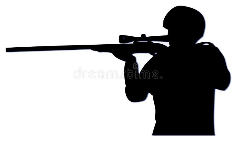 Slihouette Scharfschütze lizenzfreie stockbilder