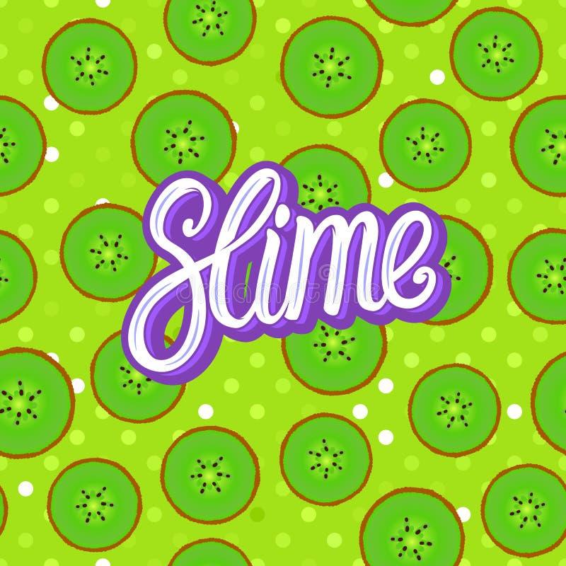 Slijm het van letters voorzien inschrijving Kiwi om stukken Naadloos patroon Vectorillustratie op groene textuur stock illustratie