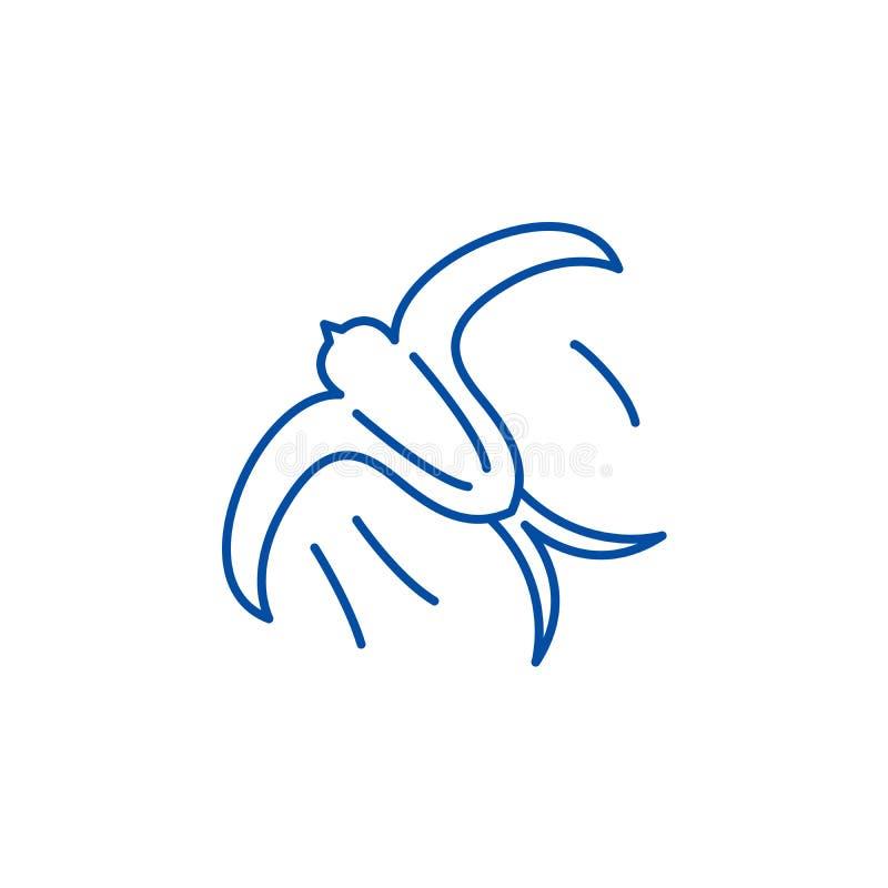 Slik het concept van het lijnpictogram Slik vlak vectorsymbool, onderteken, schets illustratie stock illustratie