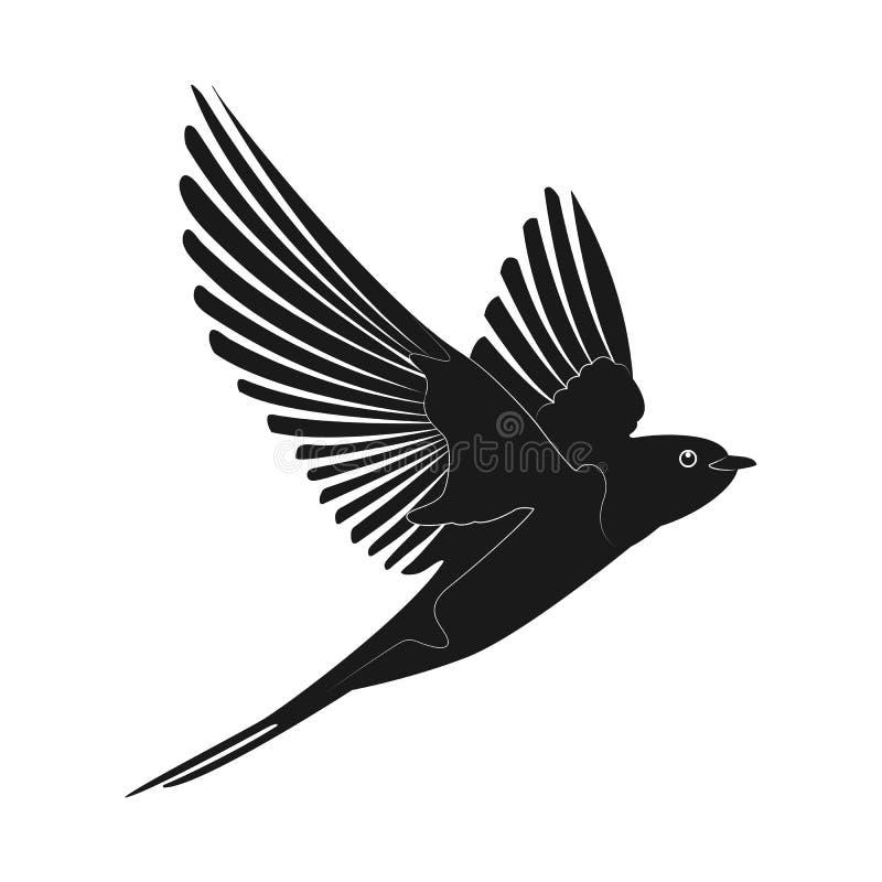 Slik pictogram vectorillustratie Silhouetvogel vector illustratie