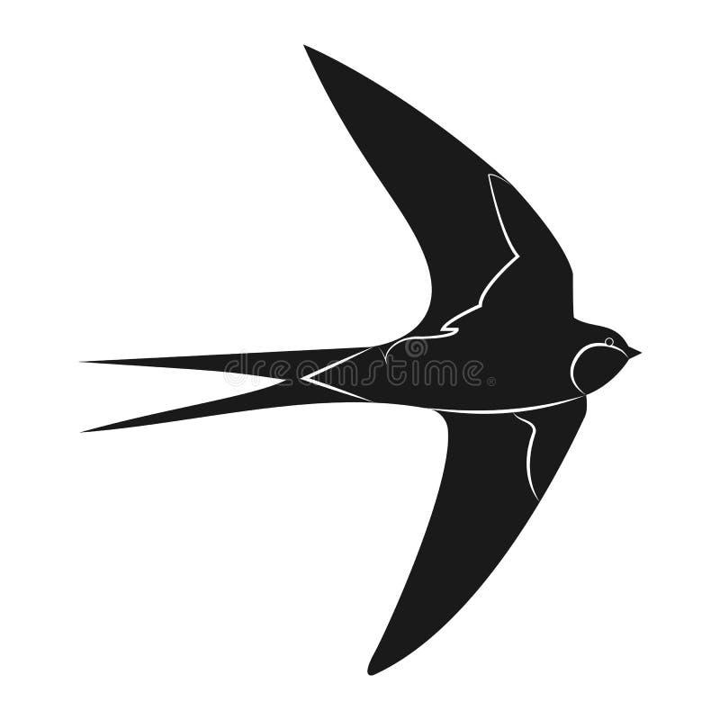 Slik pictogram vectorillustratie Silhouetvogel stock illustratie