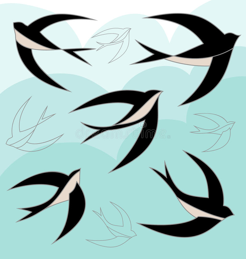 Slik vogelreeks royalty-vrije illustratie