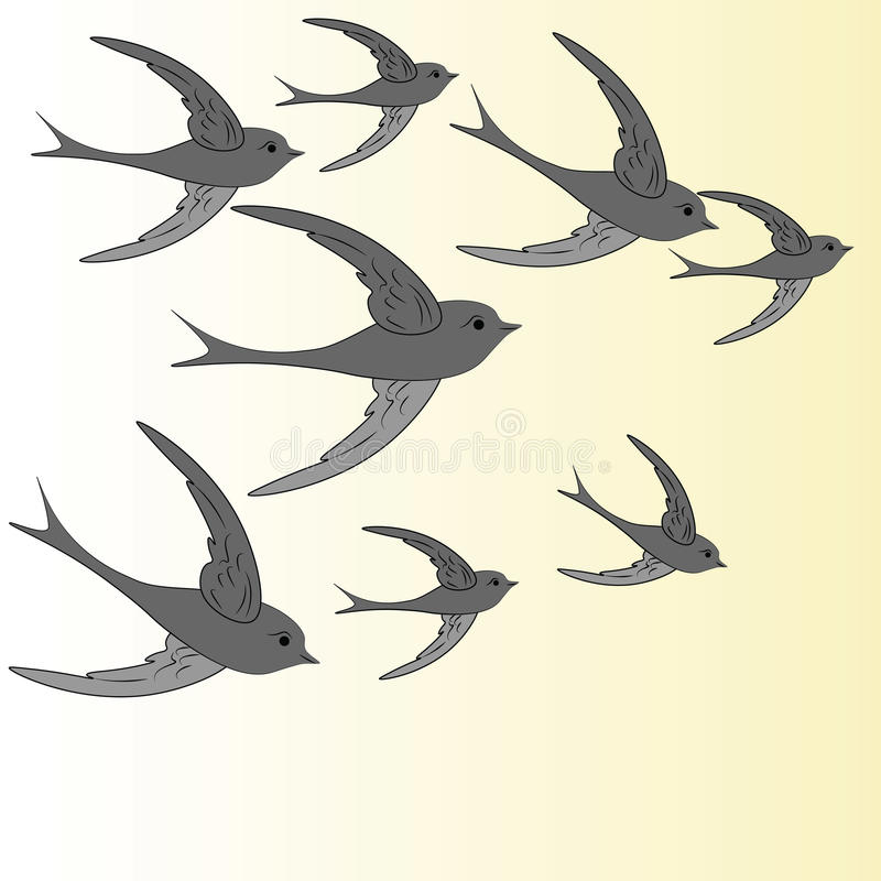 Slikt het vliegen in de hemel stock illustratie