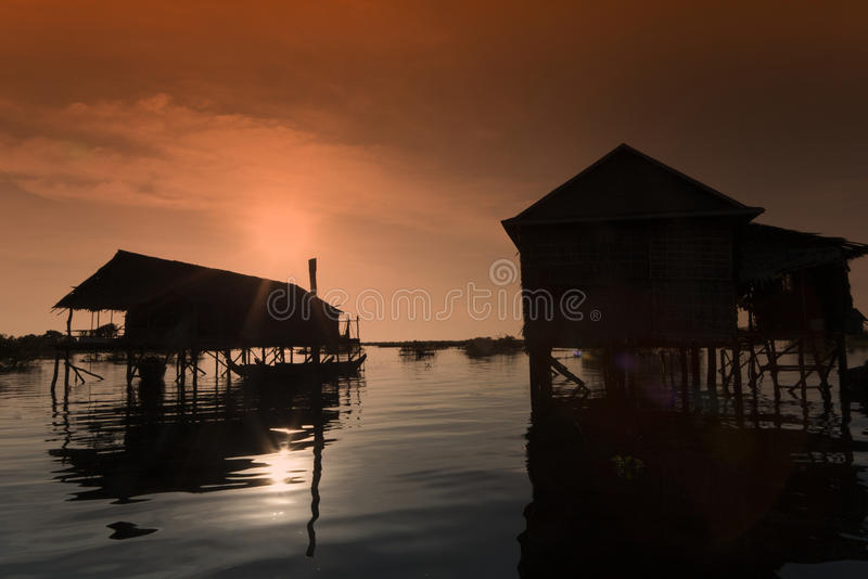 Slilt houses. In the evening at tonle sap lake in Cambodia royalty free stock photography
