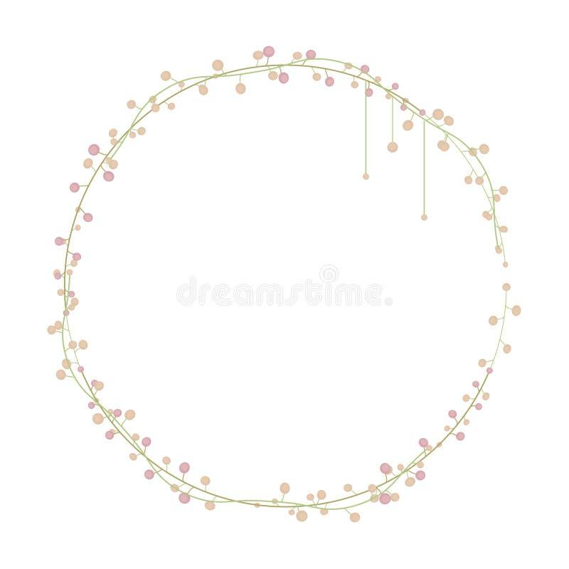 Slim переплеталось грациозно зеленый флористический венок с светлым персиком и шарики пинка цвета 2 возражают изолированный на бе иллюстрация вектора