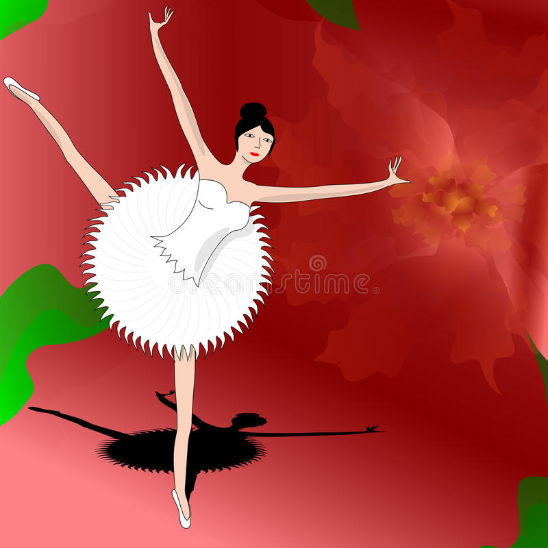 Slim ballerina dancing on petal of beautiful red flower royalty free stock images