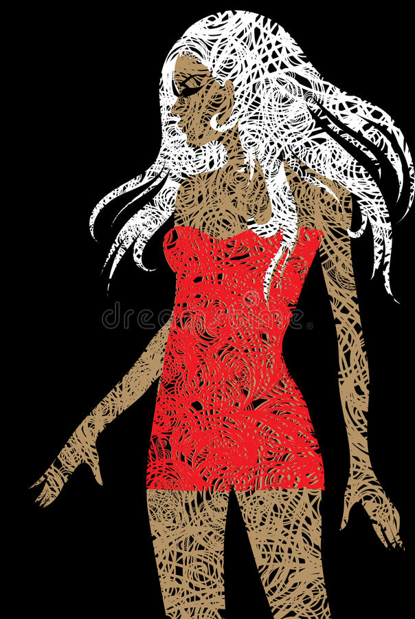 Slim blond girl with beautiful hair in red dress stock illustration