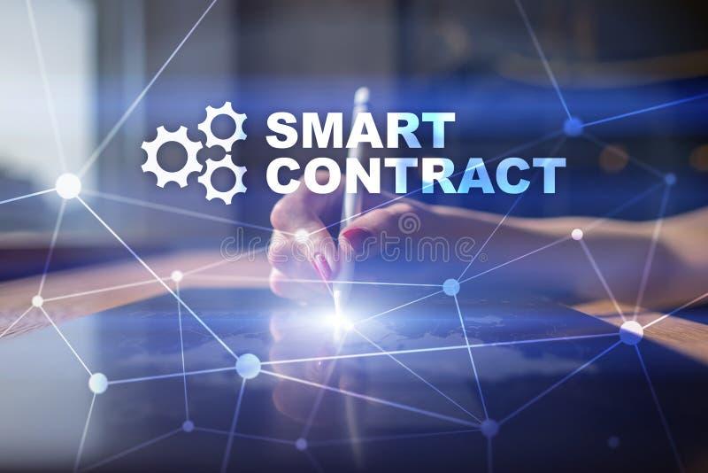 Slim contract, blockchain in moderne bedrijfstechnologie stock afbeeldingen