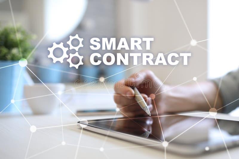 Slim contract, blockchain in moderne bedrijfstechnologie stock foto
