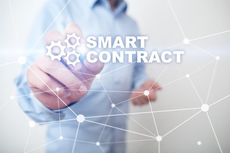 Slim contract, blockchain in moderne bedrijfstechnologie stock afbeelding