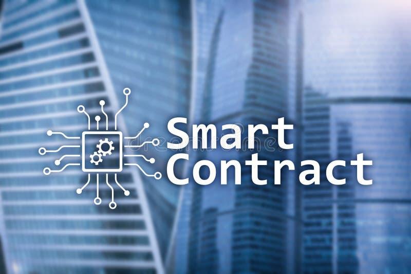 Slim contract, blockchain technologie in zaken, financi?nhi-tech concept Wolkenkrabbersachtergrond royalty-vrije stock foto