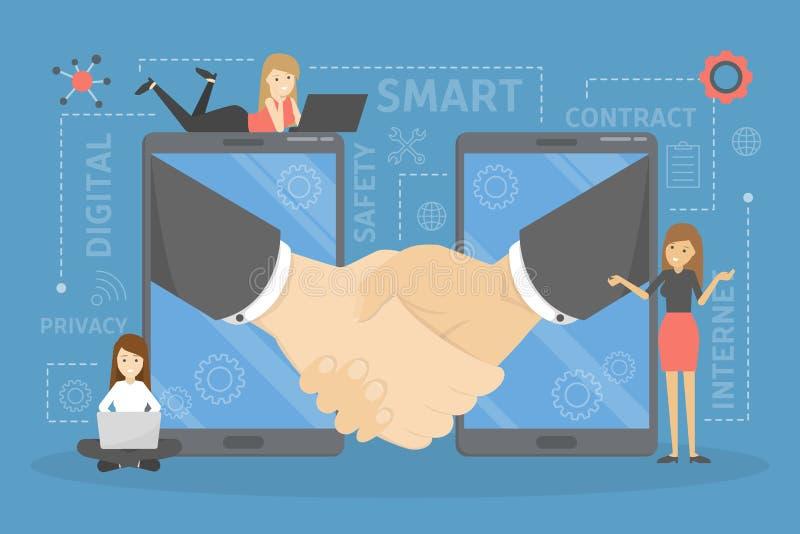 Slim contractconcept Digitale overeenkomst tussen zaken royalty-vrije illustratie