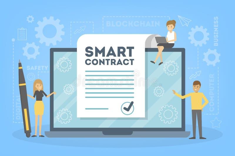 Slim contractconcept Een digitaal bedrijfsdocument vector illustratie