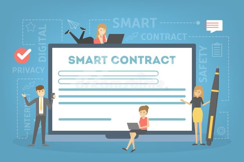 Slim contractconcept Een digitaal bedrijfsdocument stock illustratie