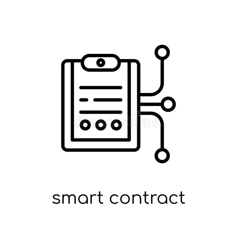 slim contractpictogram In modern vlak lineair vector slim inh. royalty-vrije illustratie