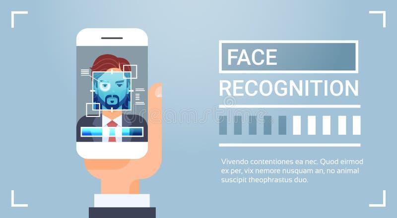 Slim de Telefoonaftasten van de handgreep Mannelijke Iris Face Recognition Technology Banner Biometrisch Identificatiesysteem vector illustratie