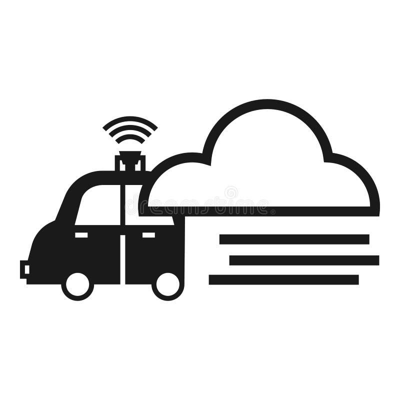 Slim de wolkenpictogram van autogegevens, eenvoudige stijl vector illustratie