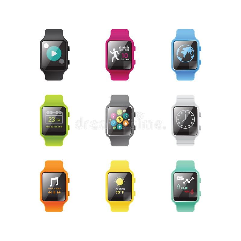 Slim die horloge met concept van de pictogrammen het volledige kleur wordt geïsoleerd Vector illustratie vector illustratie