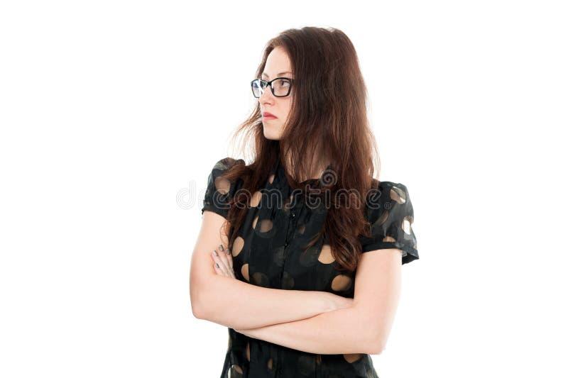 Slim en ernstig De de aantrekkelijke leraar of spreker van vrouwenoogglazen Manager van het bedrijfsdame de slimme bureau Formele royalty-vrije stock foto