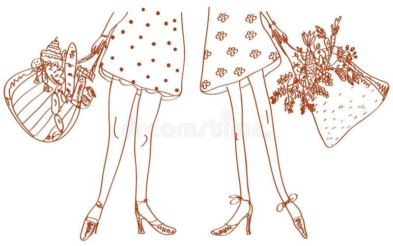 Slim and fat women. Sketch illustration vector illustration