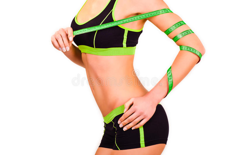 Download Slim Figure Of Girl With A Centimetre Ribbon On A Hand Royalty Free Stock Images - Image: 28602299