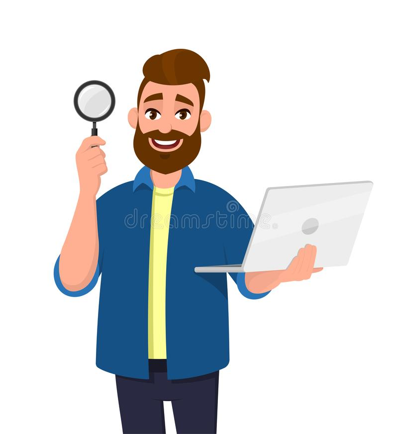 Slim gebaard het jonge van de mensen ter beschikking tonen/holding vergrootglas en laptop computer Het Zoeken, vindt, ontdekking, stock illustratie