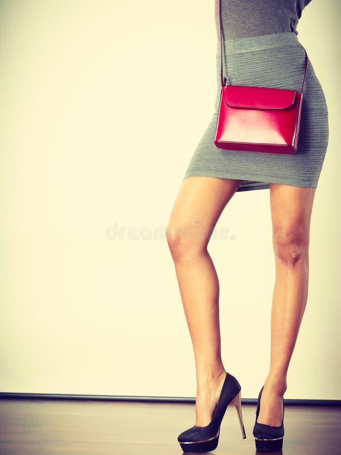 Free Slim Girl In Gray Skirt With Red Handbag Royalty Free Stock Photos - 126634588