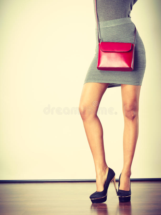 Free Slim Girl In Gray Skirt With Red Handbag Royalty Free Stock Photography - 86183297