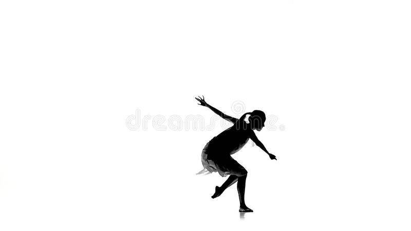 slim girl with ponytail continue dance modern contemporary style on white silhouette slow motion stock video video 68131671
