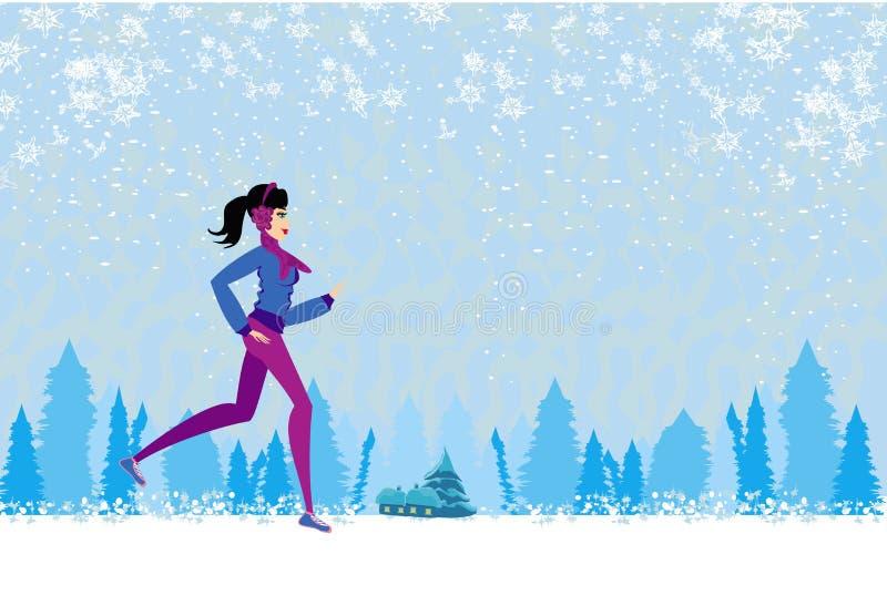 Download Slim Girl Running In Winter Stock Illustration - Illustration: 35330547