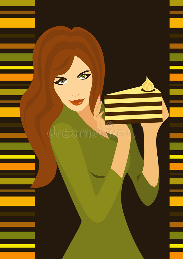Slim girl with cake royalty free stock photography