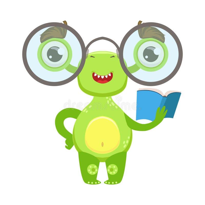 Slim Grappig Monster met Glazen en Boek, de Groene Vreemde Emoji-Sticker van het Beeldverhaalkarakter vector illustratie