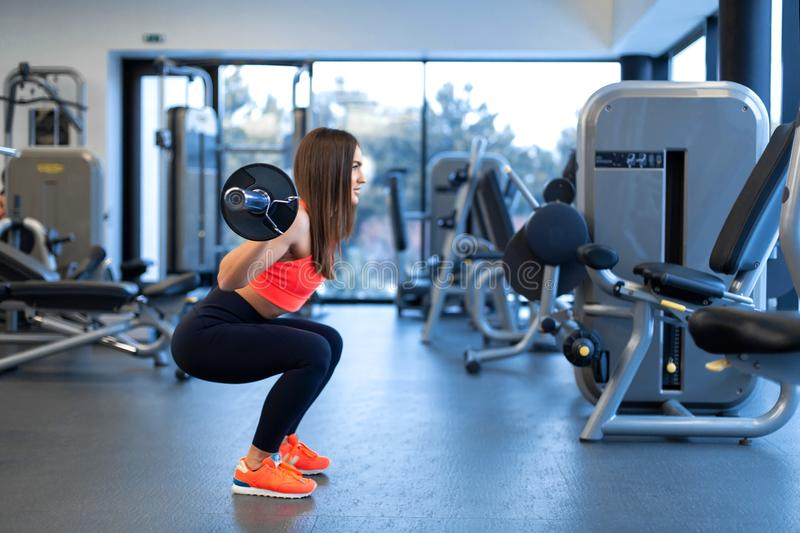 Slim handsome young woman in sportswear squats with a barbell on the shoulder in the gym stock photo