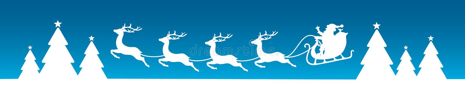 Banner Flying Christmas Sleigh With Forest Blue Background vector illustration