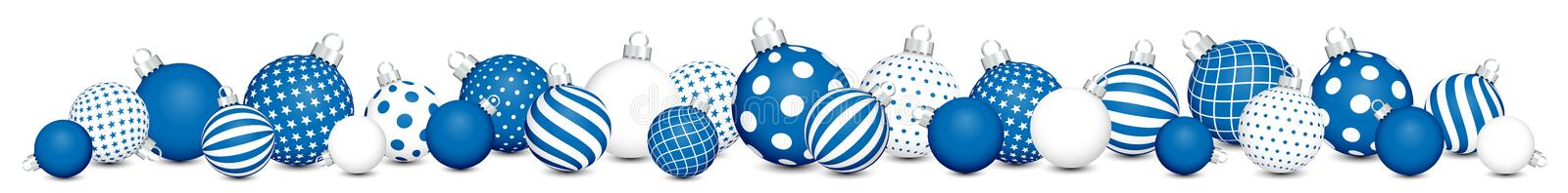 Horizontal Banner Twenty Seven Christmas Baubles Pattern Blue And White stock illustration