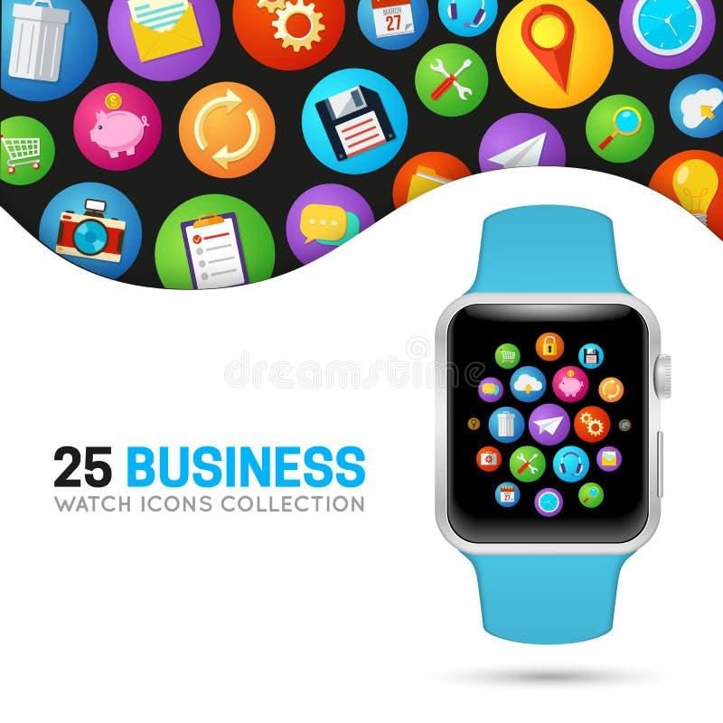 Slim horloge met blauwe manchet vector illustratie