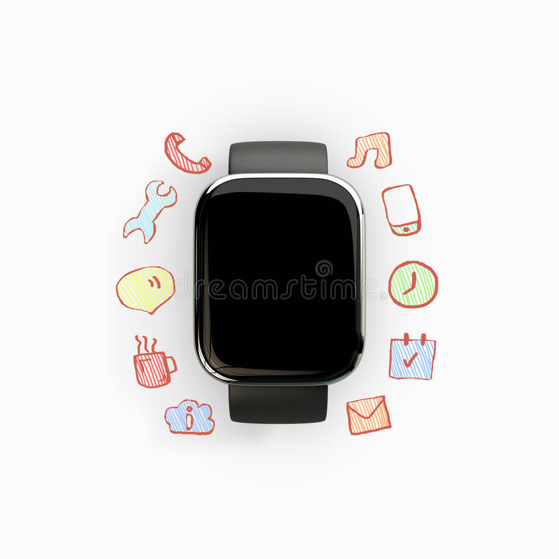 Slim horloge met communicatie pictogrammen stock illustratie