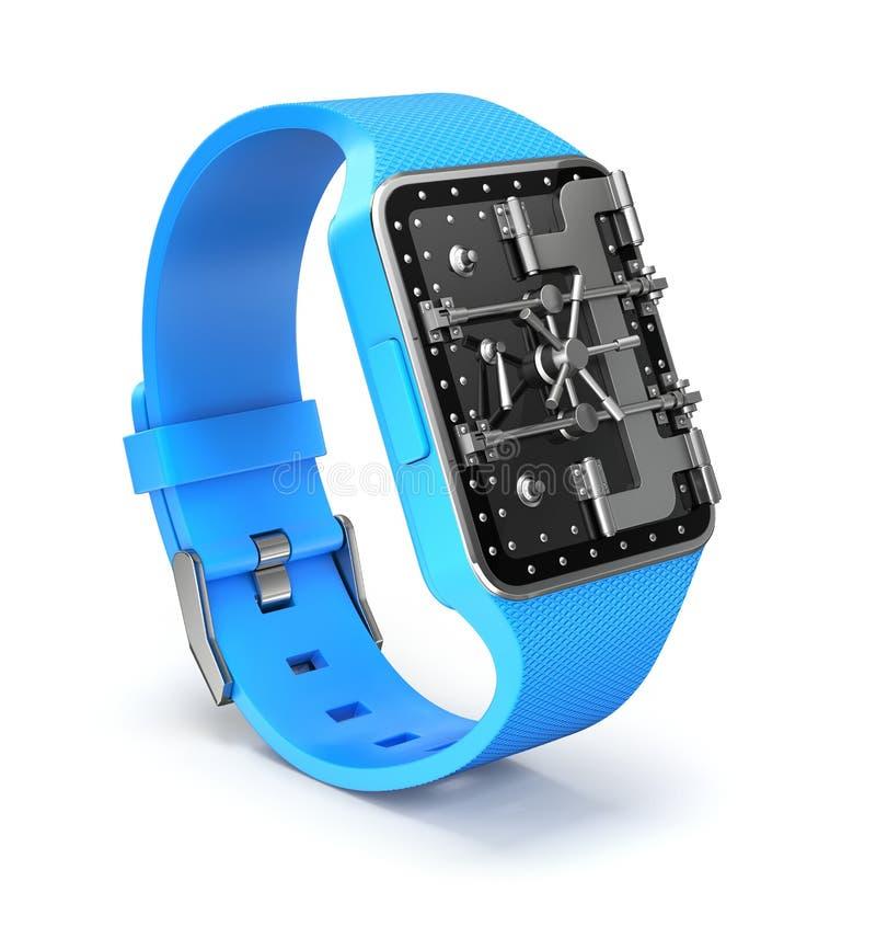 Slim horloge met de veiligheidsconcept van de kluisdeur royalty-vrije illustratie